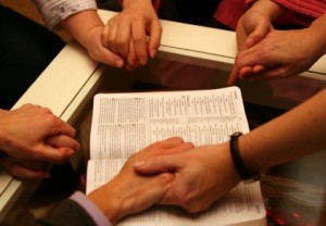Praying hands over bible - Small